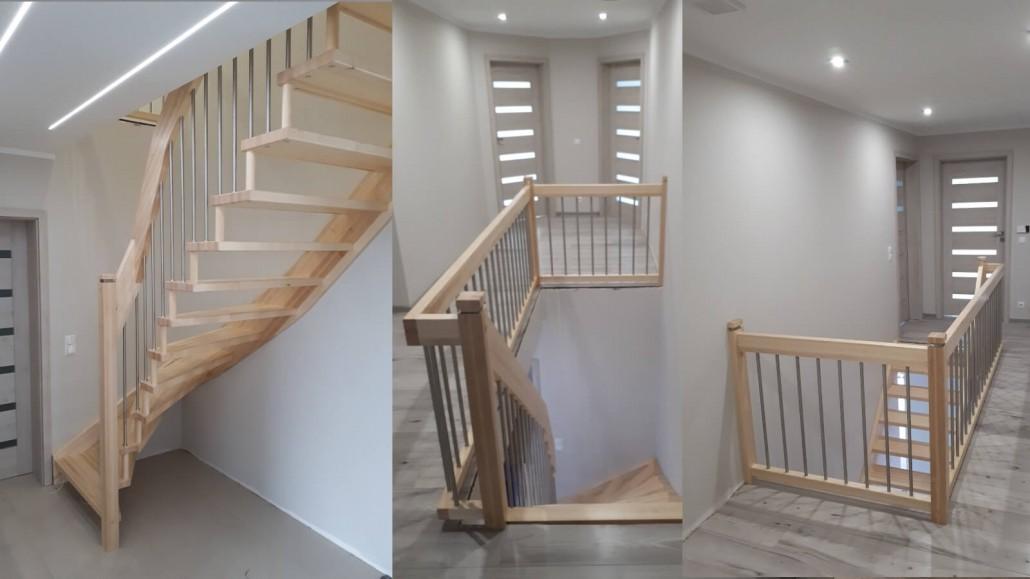 Schody drewniane w domu jednorodzinnym